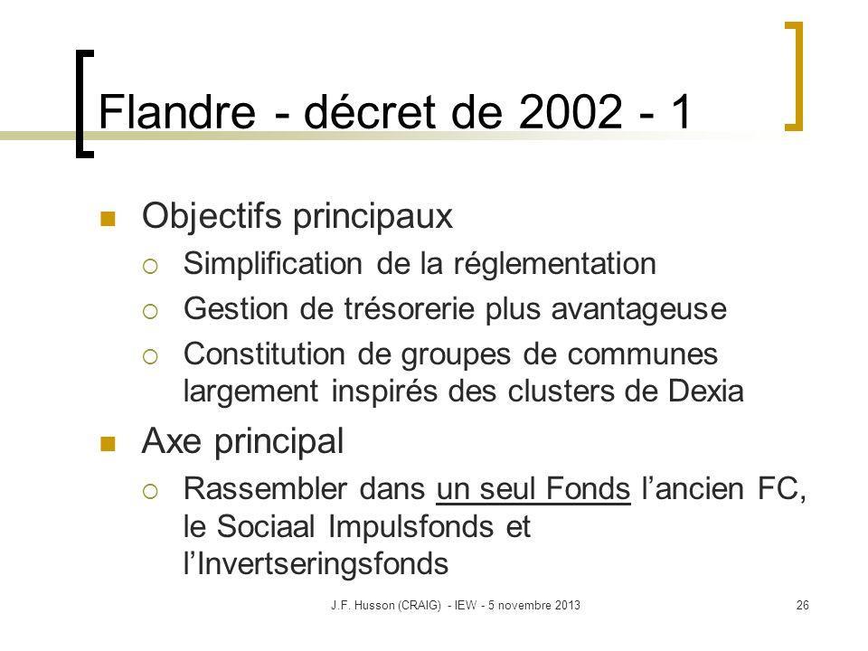Flandre - décret de 2002 - 1 Objectifs principaux Simplification de la réglementation Gestion de trésorerie plus avantageuse Constitution de groupes de communes largement inspirés des clusters de Dexia Axe principal Rassembler dans un seul Fonds lancien FC, le Sociaal Impulsfonds et lInvertseringsfonds 26J.F.