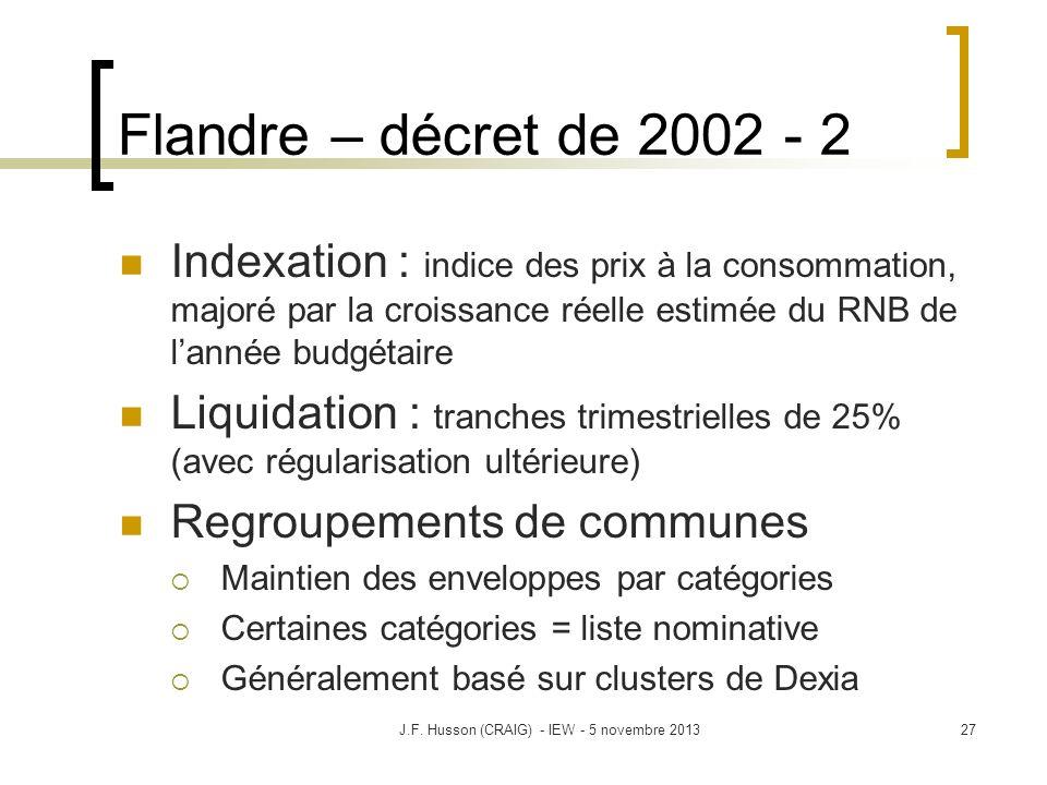 Flandre – décret de 2002 - 2 Indexation : indice des prix à la consommation, majoré par la croissance réelle estimée du RNB de lannée budgétaire Liqui