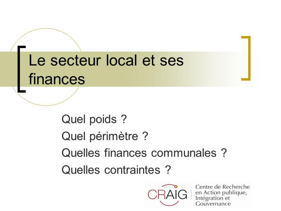 Le secteur local et ses finances Quel poids ? Quel périmètre ? Quelles finances communales ? Quelles contraintes ?