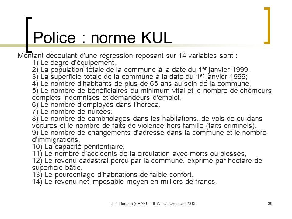 Police : norme KUL Montant découlant dune régression reposant sur 14 variables sont : 1) Le degré d'équipement, 2) La population totale de la commune