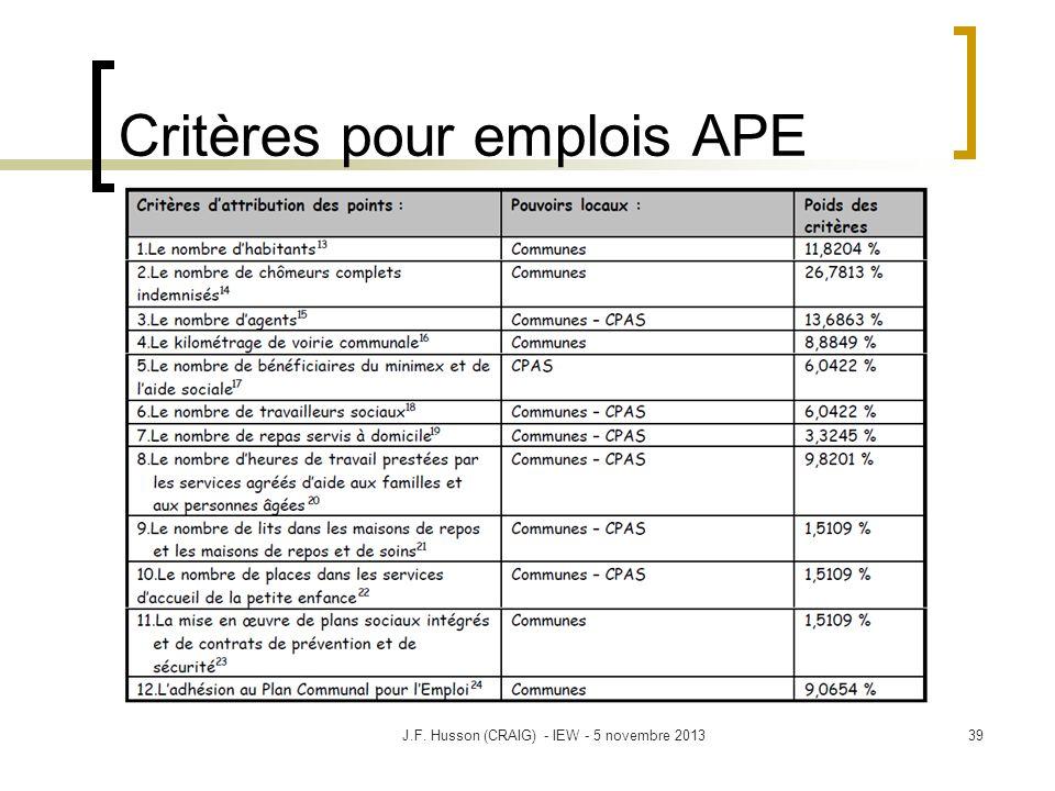 Critères pour emplois APE 39J.F. Husson (CRAIG) - IEW - 5 novembre 2013