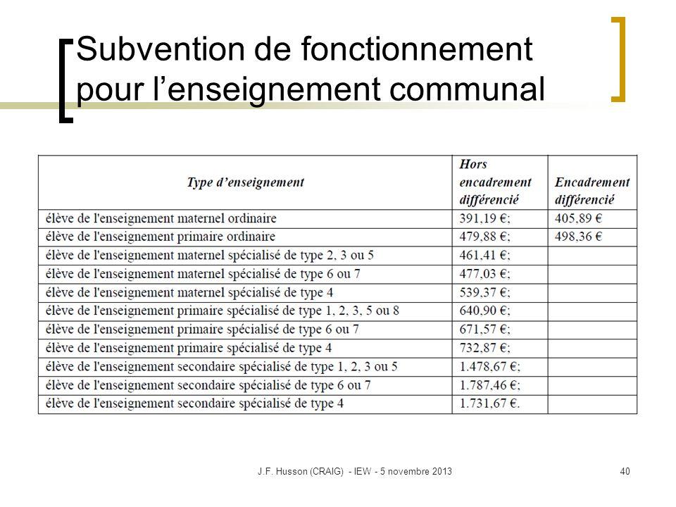 Subvention de fonctionnement pour lenseignement communal 40J.F. Husson (CRAIG) - IEW - 5 novembre 2013
