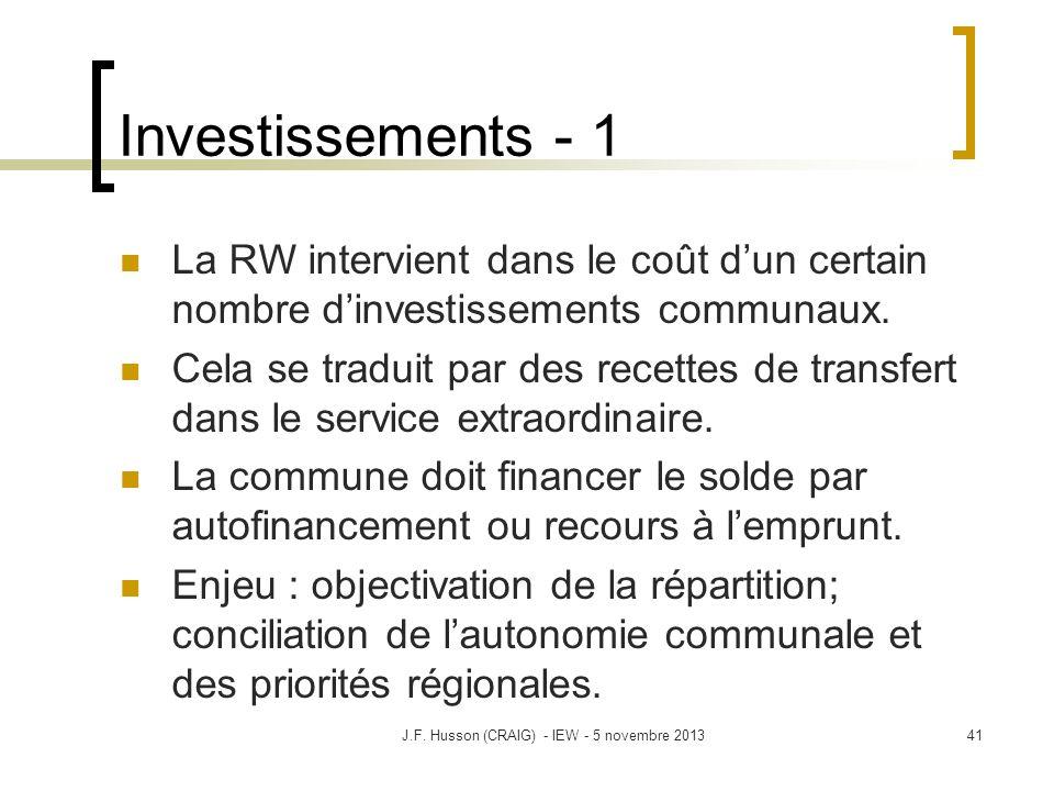 41 Investissements - 1 La RW intervient dans le coût dun certain nombre dinvestissements communaux. Cela se traduit par des recettes de transfert dans