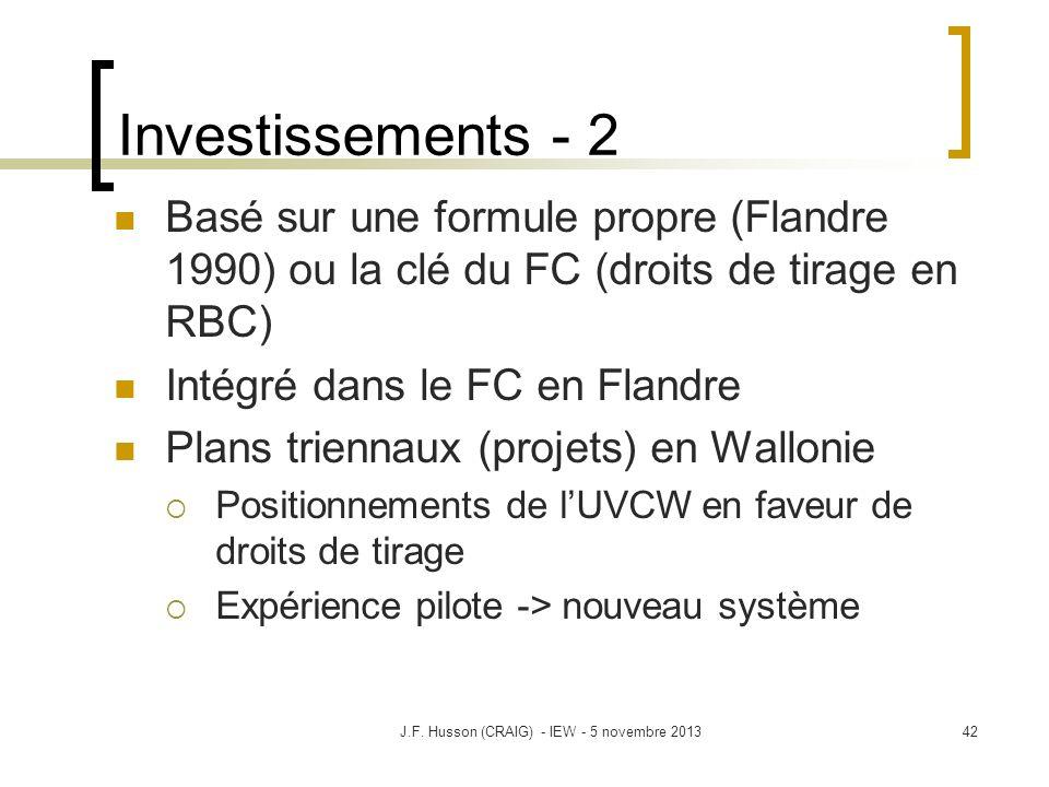 Investissements - 2 Basé sur une formule propre (Flandre 1990) ou la clé du FC (droits de tirage en RBC) Intégré dans le FC en Flandre Plans triennaux (projets) en Wallonie Positionnements de lUVCW en faveur de droits de tirage Expérience pilote -> nouveau système 42J.F.