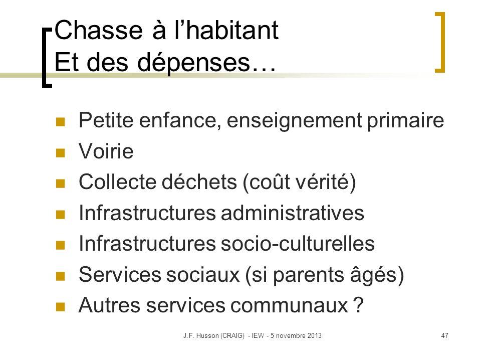 Chasse à lhabitant Et des dépenses… Petite enfance, enseignement primaire Voirie Collecte déchets (coût vérité) Infrastructures administratives Infras
