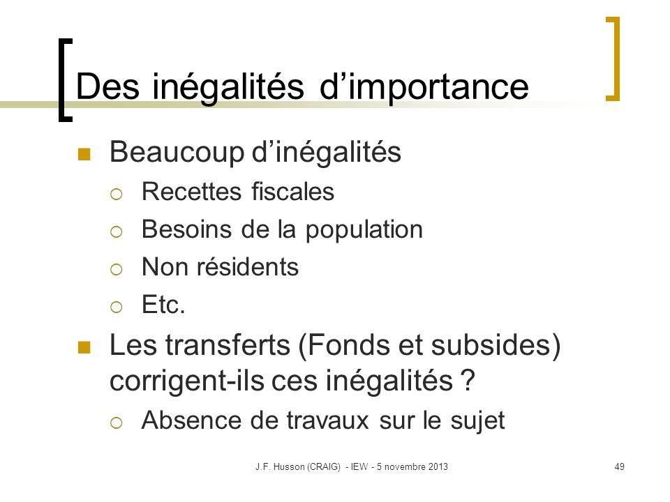 Des inégalités dimportance Beaucoup dinégalités Recettes fiscales Besoins de la population Non résidents Etc. Les transferts (Fonds et subsides) corri