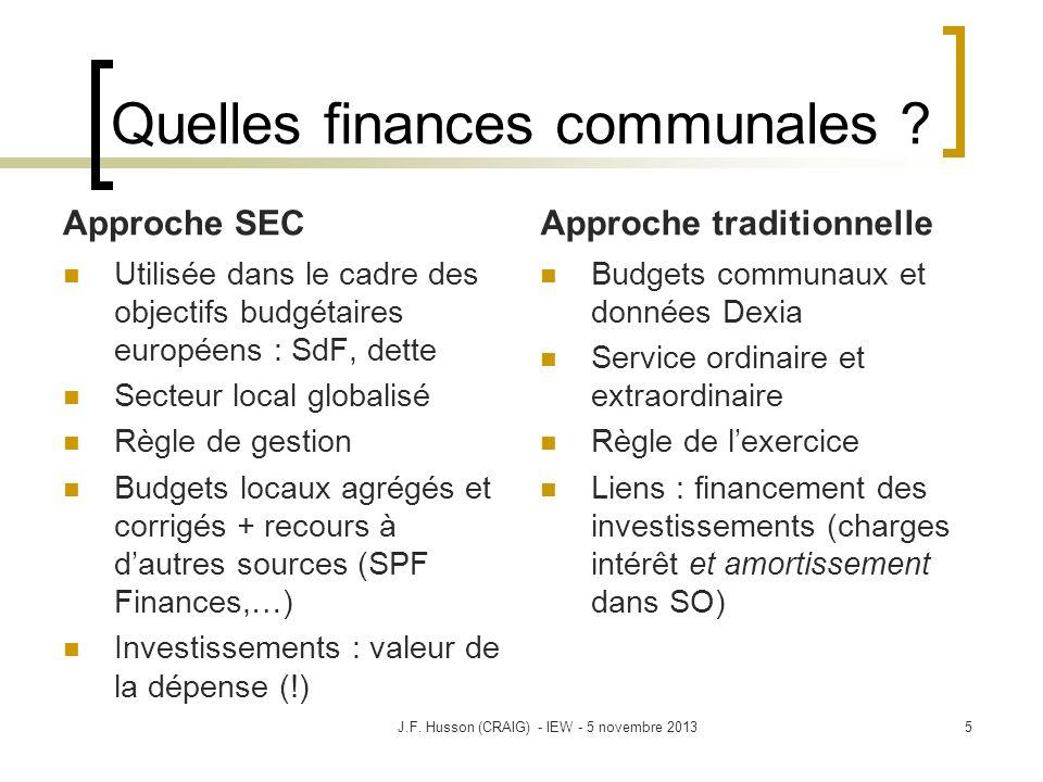 Quelles finances communales ? Approche SEC Utilisée dans le cadre des objectifs budgétaires européens : SdF, dette Secteur local globalisé Règle de ge
