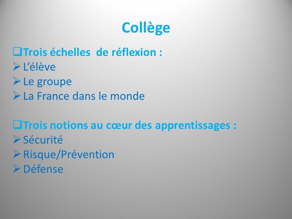 Collège Trois échelles de réflexion : Lélève Le groupe La France dans le monde Trois notions au cœur des apprentissages : Sécurité Risque/Prévention D