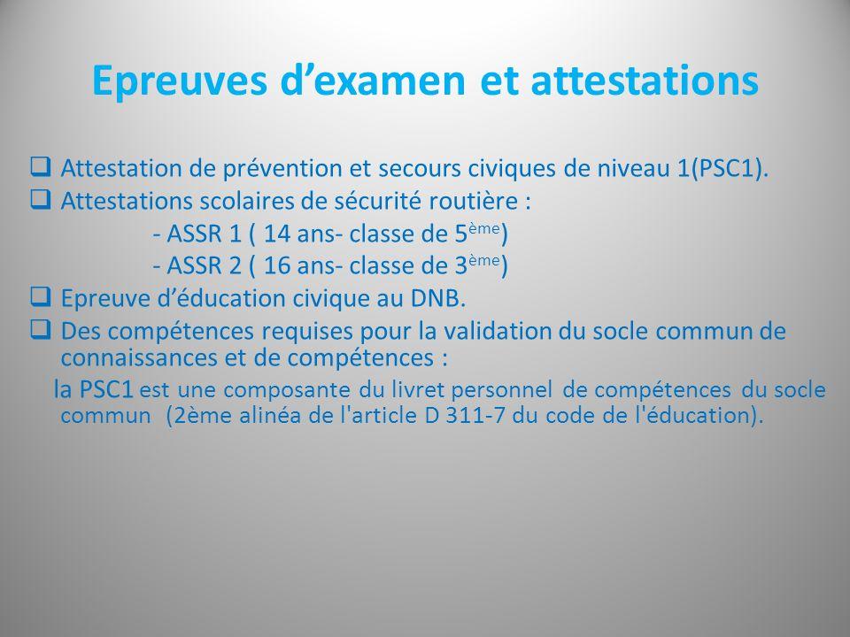 Epreuves dexamen et attestations Attestation de prévention et secours civiques de niveau 1(PSC1). Attestations scolaires de sécurité routière : - ASSR