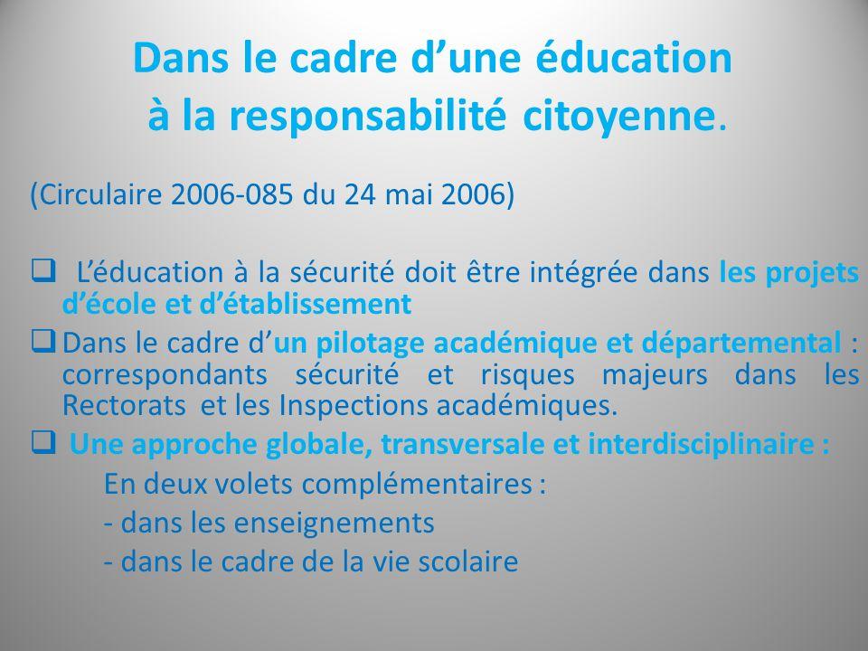 Dans le cadre dune éducation à la responsabilité citoyenne. (Circulaire 2006-085 du 24 mai 2006) Léducation à la sécurité doit être intégrée dans les