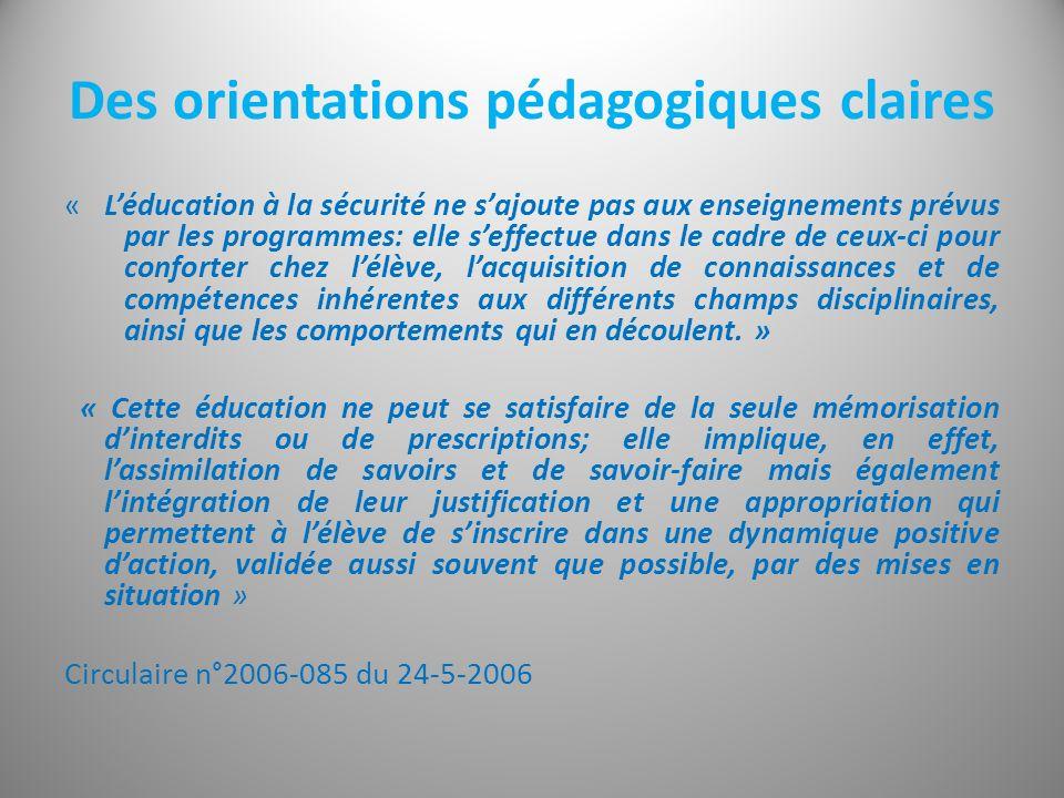 Des orientations pédagogiques claires « Léducation à la sécurité ne sajoute pas aux enseignements prévus par les programmes: elle seffectue dans le ca