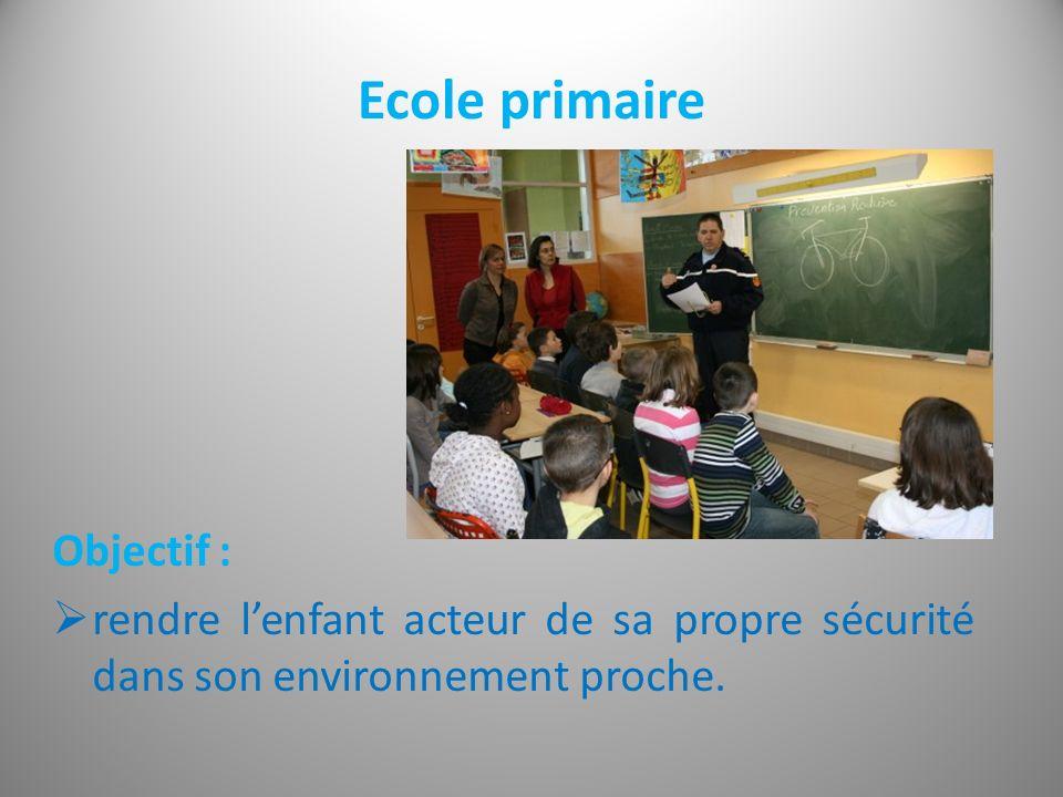 Ecole primaire Objectif : rendre lenfant acteur de sa propre sécurité dans son environnement proche.