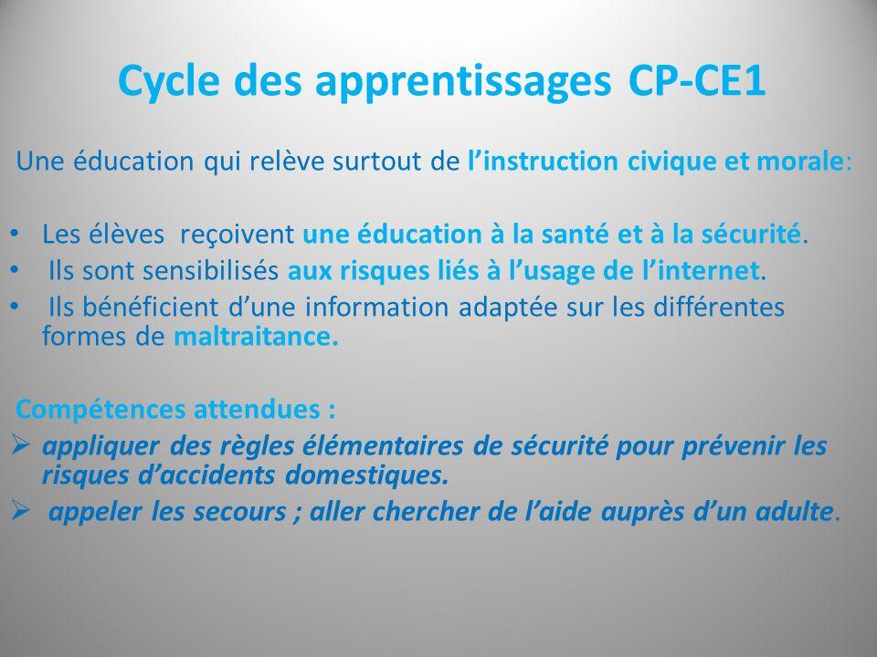 Cycle des apprentissages CP-CE1 Une éducation qui relève surtout de linstruction civique et morale: Les élèves reçoivent une éducation à la santé et à la sécurité.