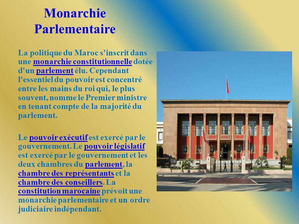 Monarchie Parlementaire La politique du Maroc s'inscrit dans une monarchie constitutionnelle dotée d'un parlement élu. Cependant l'essentiel du pouvoi