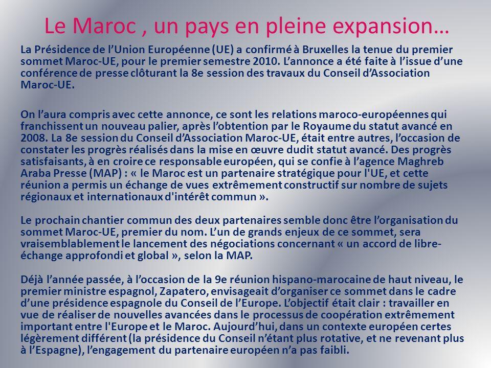 Le Maroc, un pays en pleine expansion… La Présidence de lUnion Européenne (UE) a confirmé à Bruxelles la tenue du premier sommet Maroc-UE, pour le pre