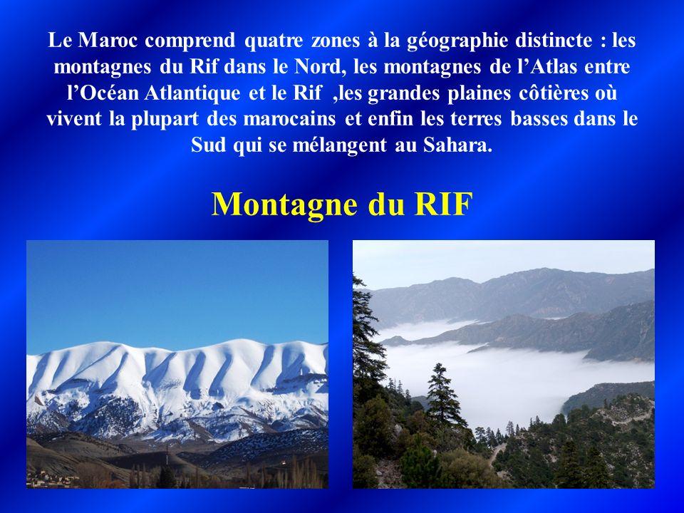 Le Maroc comprend quatre zones à la géographie distincte : les montagnes du Rif dans le Nord, les montagnes de lAtlas entre lOcéan Atlantique et le Ri