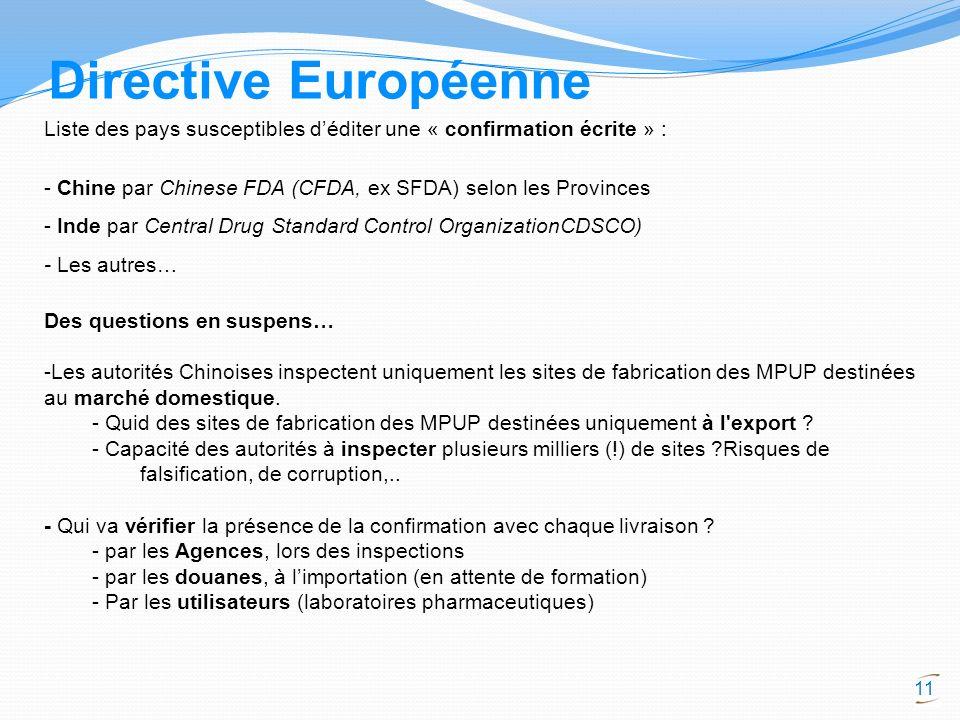 11 Directive Européenne Liste des pays susceptibles déditer une « confirmation écrite » : - Chine par Chinese FDA (CFDA, ex SFDA) selon les Provinces