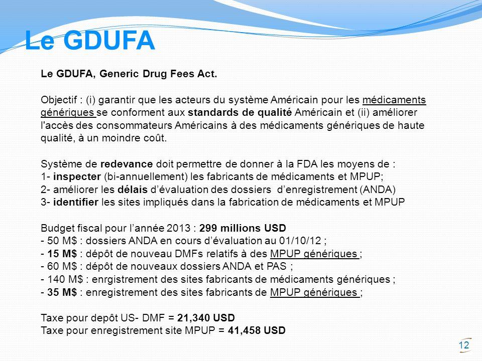 12 Le GDUFA, Generic Drug Fees Act. Objectif : (i) garantir que les acteurs du système Américain pour les médicaments génériques se conforment aux sta