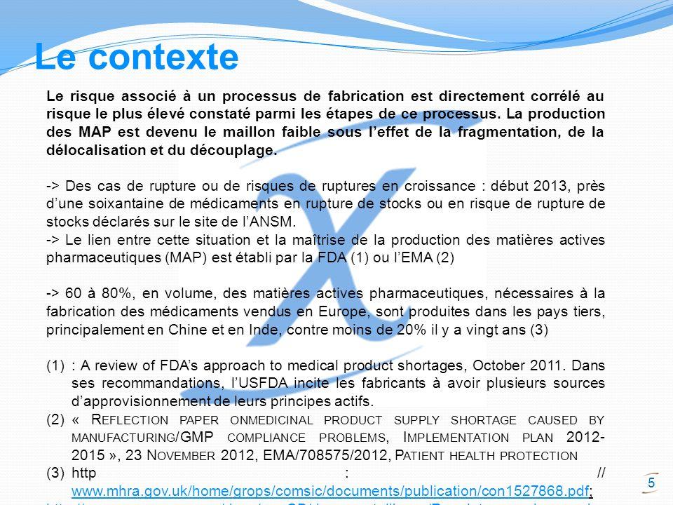6 Le contexte Les pertes demplois et de moyens industriels en Europe et donc de compétences confirme que la maîtrise du maillon clé de la production de matières actives pharmaceutiques sest affaiblie Etude « Lemploi dans lindustrie pharmaceutique en France – 10 décembre 2007