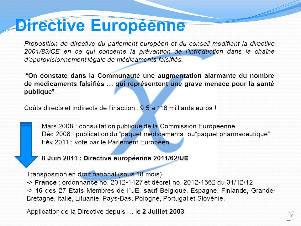 7 Proposition de directive du parlement européen et du conseil modifiant la directive 2001/83/CE en ce qui concerne la prévention de lintroduction dan