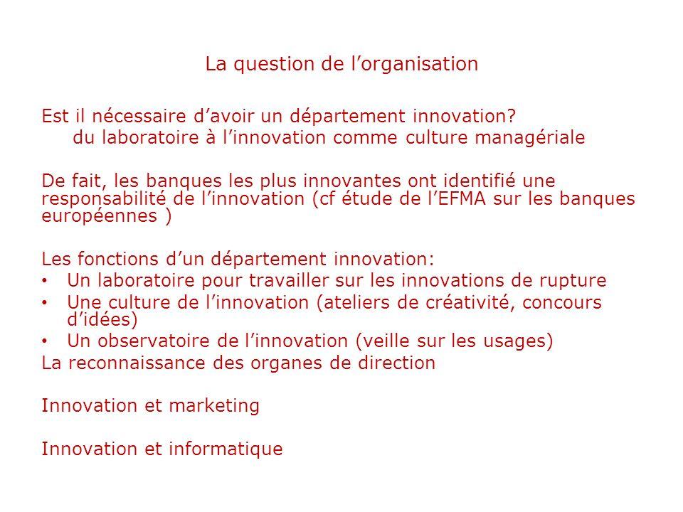 La question de lorganisation Est il nécessaire davoir un département innovation? du laboratoire à linnovation comme culture managériale De fait, les b