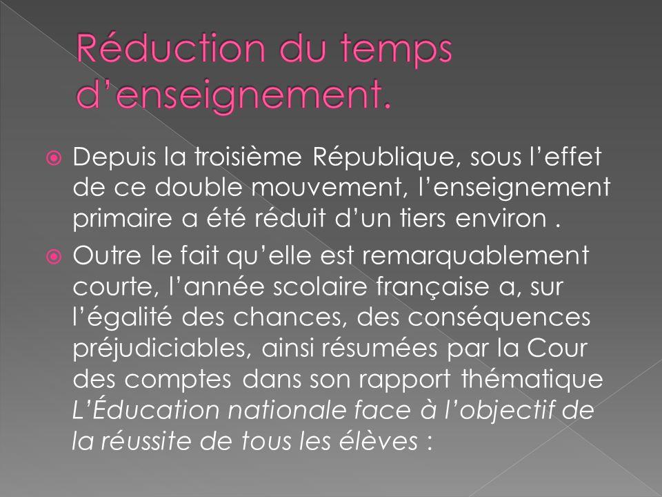 Depuis la troisième République, sous leffet de ce double mouvement, lenseignement primaire a été réduit dun tiers environ.