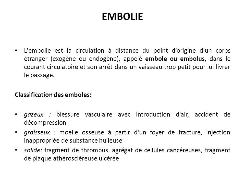 EMBOLIE L embolie est la circulation à distance du point dorigine d un corps étranger (exogène ou endogène), appelé embole ou embolus, dans le courant circulatoire et son arrêt dans un vaisseau trop petit pour lui livrer le passage.