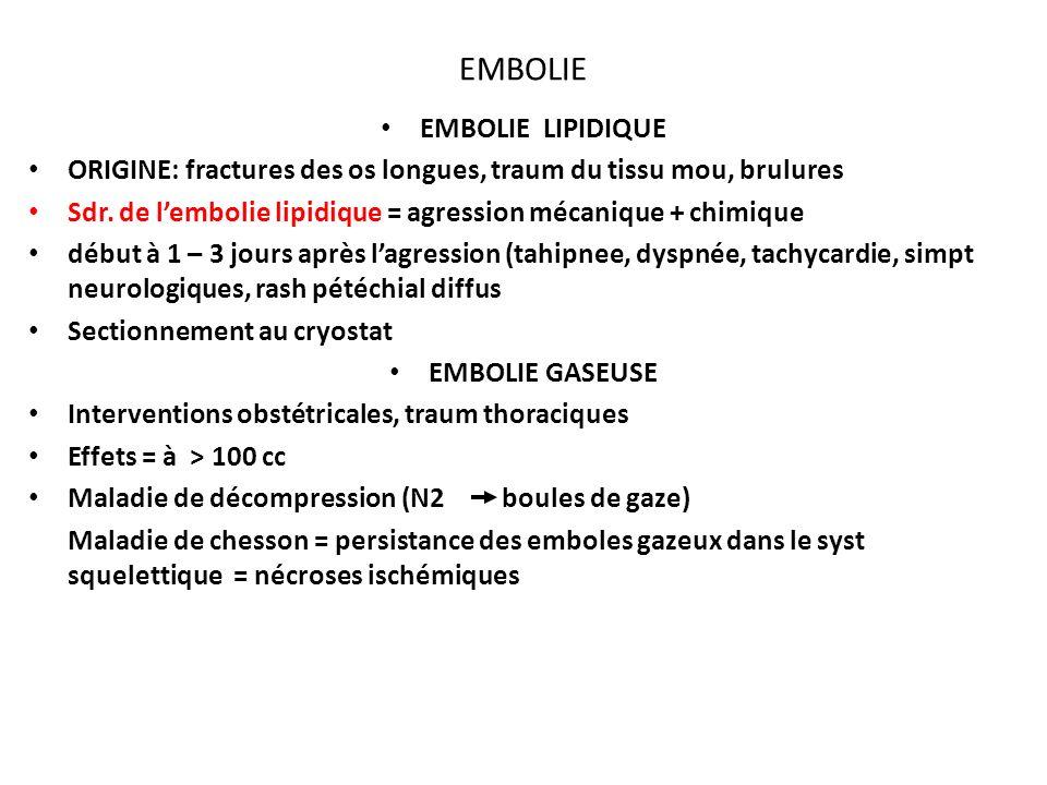 EMBOLIE EMBOLIE LIPIDIQUE ORIGINE: fractures des os longues, traum du tissu mou, brulures Sdr.