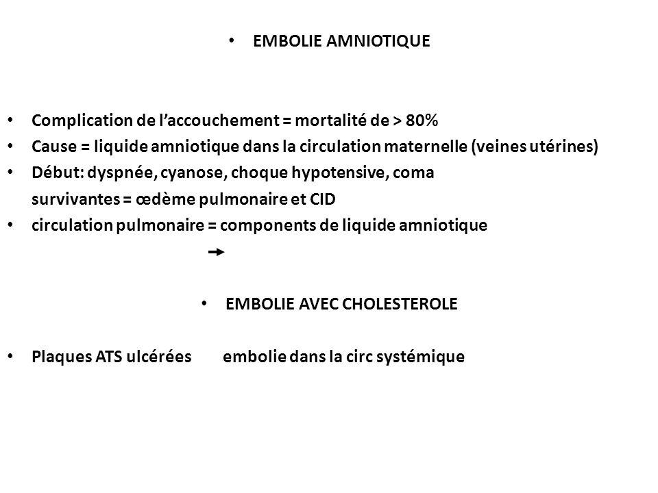 EMBOLIE AMNIOTIQUE Complication de laccouchement = mortalité de > 80% Cause = liquide amniotique dans la circulation maternelle (veines utérines) Début: dyspnée, cyanose, choque hypotensive, coma survivantes = œdème pulmonaire et CID circulation pulmonaire = components de liquide amniotique EMBOLIE AVEC CHOLESTEROLE Plaques ATS ulcérées embolie dans la circ systémique