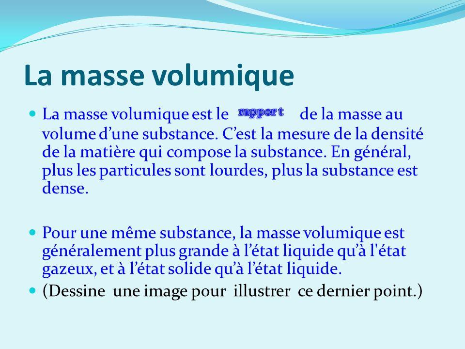 Calculer la masse volumique Mesures: Solide:g/cm³ Liquide:g/ml Gaz: kg/l La masse volumique est le rapport de la masse au volume.
