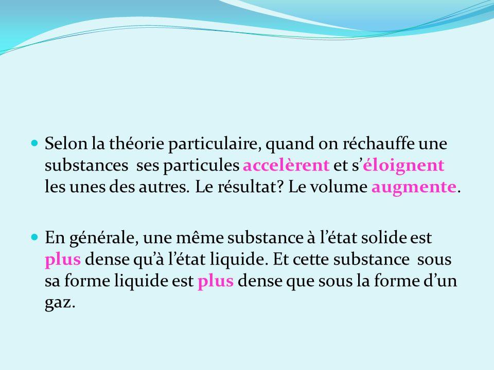 Selon la théorie particulaire, quand on réchauffe une substances ses particules accelèrent et séloignent les unes des autres. Le résultat? Le volume a