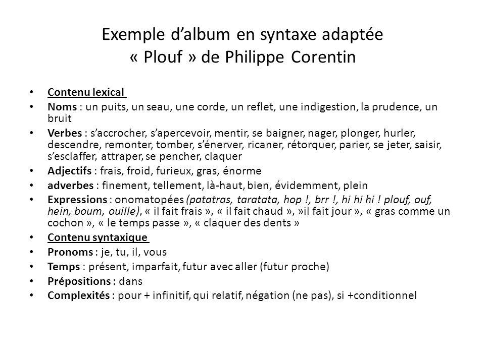 Exemple dalbum en syntaxe adaptée « Plouf » de Philippe Corentin Contenu lexical Noms : un puits, un seau, une corde, un reflet, une indigestion, la p
