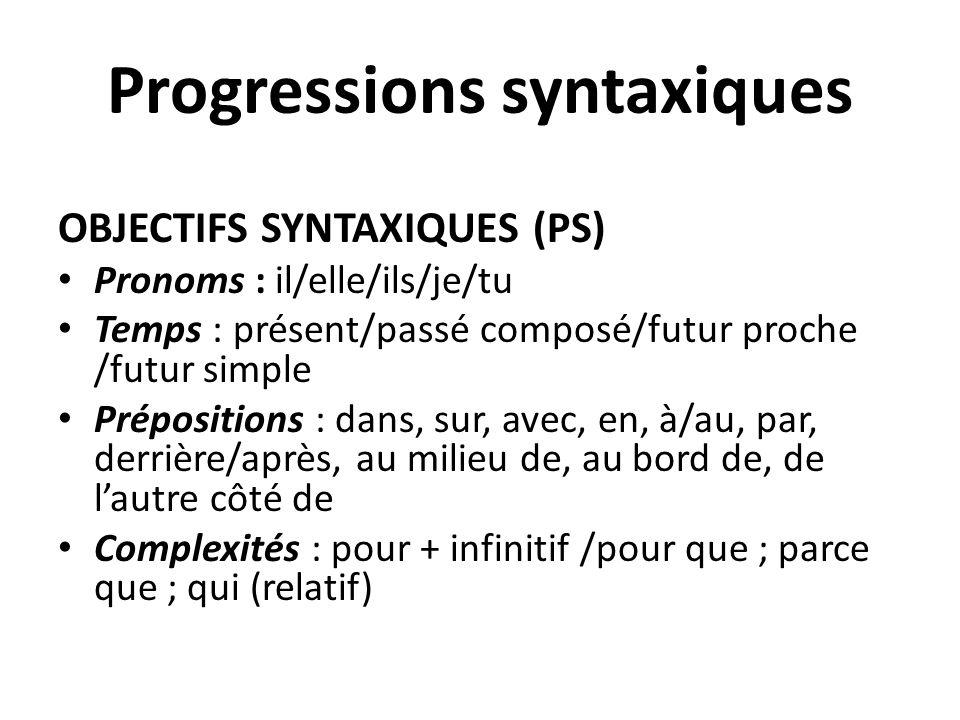 Progressions syntaxiques OBJECTIFS SYNTAXIQUES (PS) Pronoms : il/elle/ils/je/tu Temps : présent/passé composé/futur proche /futur simple Prépositions