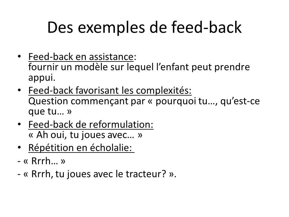 Des exemples de feed-back Feed-back en assistance: fournir un modèle sur lequel lenfant peut prendre appui. Feed-back favorisant les complexités: Ques