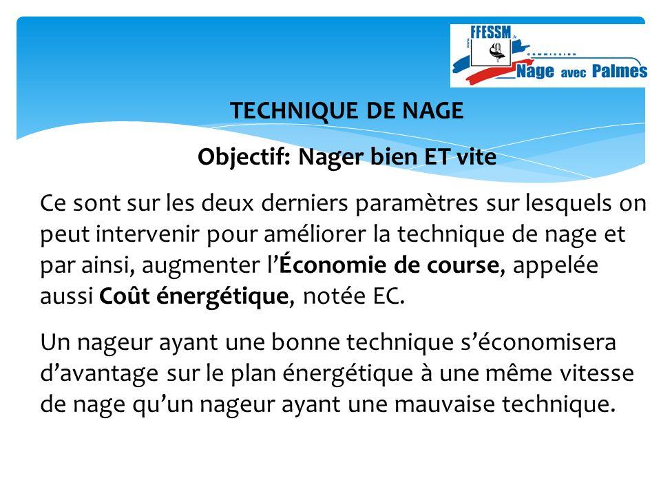 TECHNIQUE DE NAGE Objectif: Nager bien ET vite Ce sont sur les deux derniers paramètres sur lesquels on peut intervenir pour améliorer la technique de nage et par ainsi, augmenter lÉconomie de course, appelée aussi Coût énergétique, notée EC.