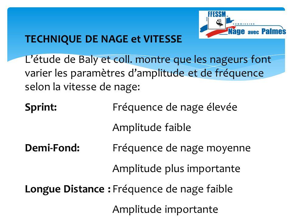 TECHNIQUE DE NAGE et VITESSE Létude de Baly et coll.