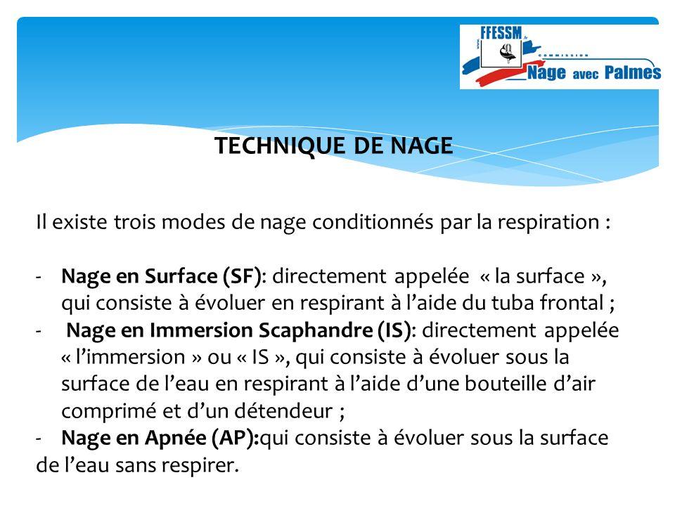 TECHNIQUE DE NAGE Il existe trois modes de nage conditionnés par la respiration : -Nage en Surface (SF): directement appelée « la surface », qui consiste à évoluer en respirant à laide du tuba frontal ; - Nage en Immersion Scaphandre (IS): directement appelée « limmersion » ou « IS », qui consiste à évoluer sous la surface de leau en respirant à laide dune bouteille dair comprimé et dun détendeur ; - Nage en Apnée (AP):qui consiste à évoluer sous la surface de leau sans respirer.