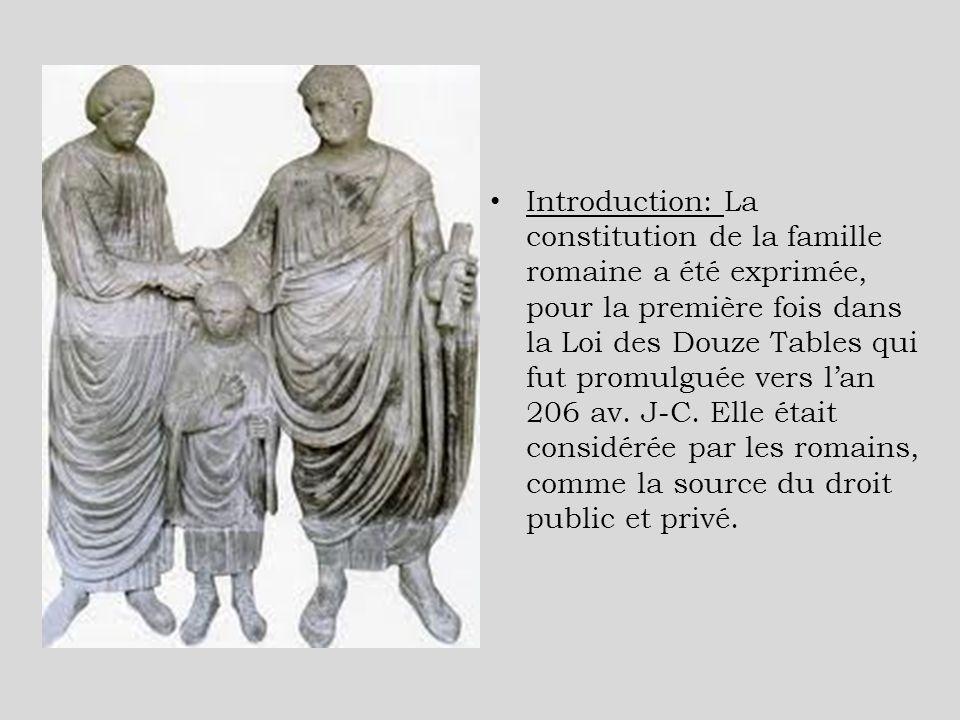 Introduction: La constitution de la famille romaine a été exprimée, pour la première fois dans la Loi des Douze Tables qui fut promulguée vers lan 206