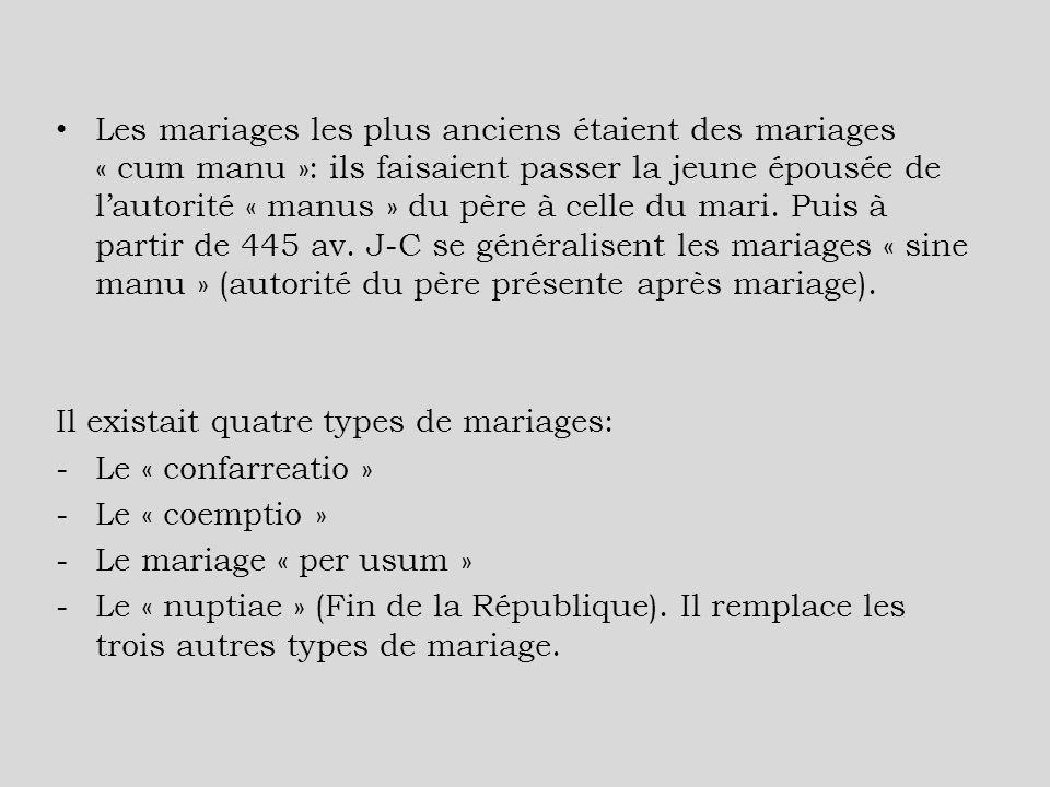 Les mariages les plus anciens étaient des mariages « cum manu »: ils faisaient passer la jeune épousée de lautorité « manus » du père à celle du mari.