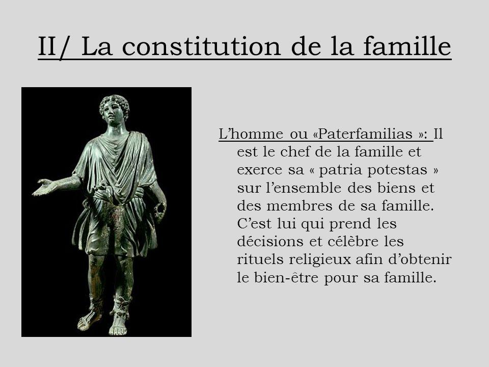 II/ La constitution de la famille Lhomme ou «Paterfamilias »: Il est le chef de la famille et exerce sa « patria potestas » sur lensemble des biens et
