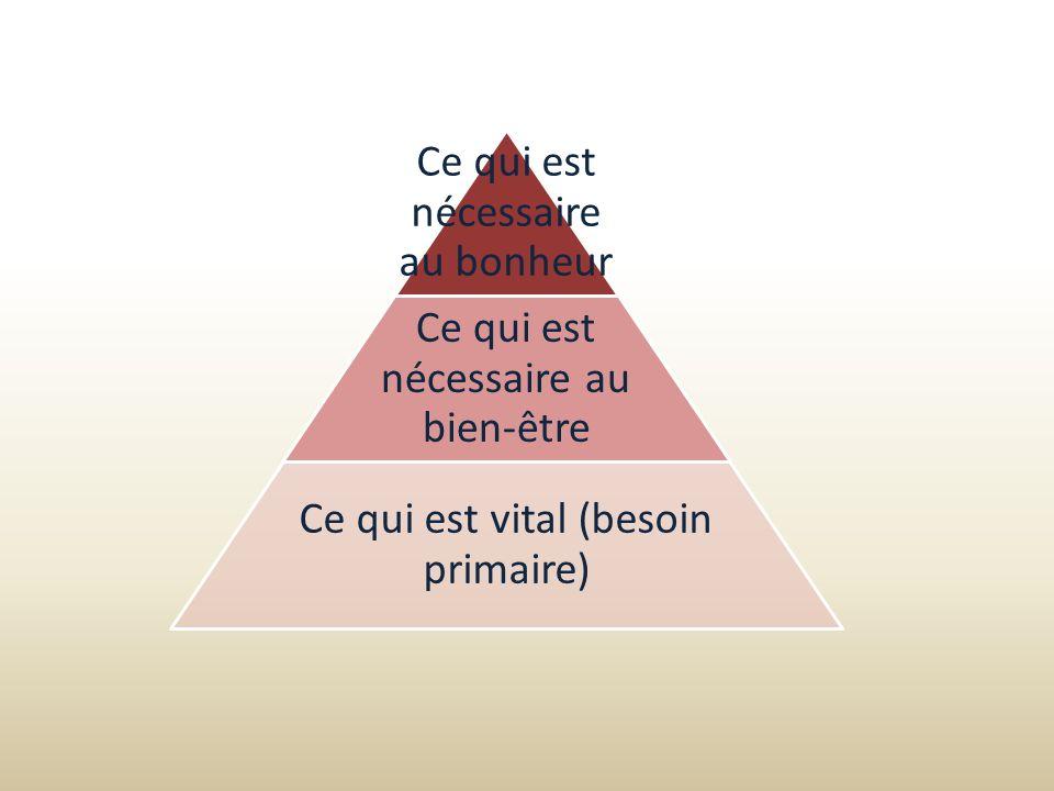 Ce qui est nécessaire au bonheur Ce qui est nécessaire au bien-être Ce qui est vital (besoin primaire)