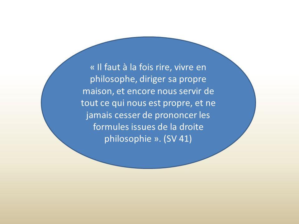 « Il faut à la fois rire, vivre en philosophe, diriger sa propre maison, et encore nous servir de tout ce qui nous est propre, et ne jamais cesser de