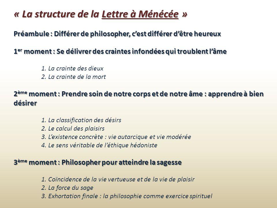 « La structure de la Lettre à Ménécée » Préambule : Différer de philosopher, cest différer dêtre heureux 1 er moment : Se délivrer des craintes infond