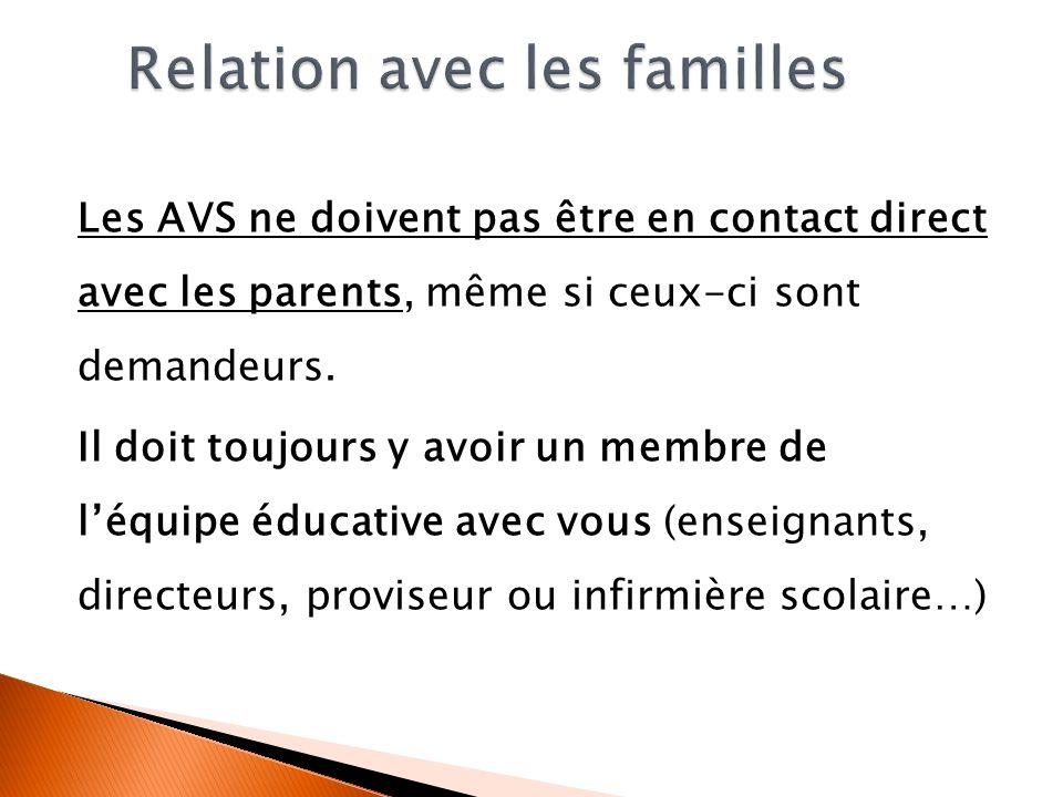 Les AVS ne doivent pas être en contact direct avec les parents, même si ceux-ci sont demandeurs. Il doit toujours y avoir un membre de léquipe éducati