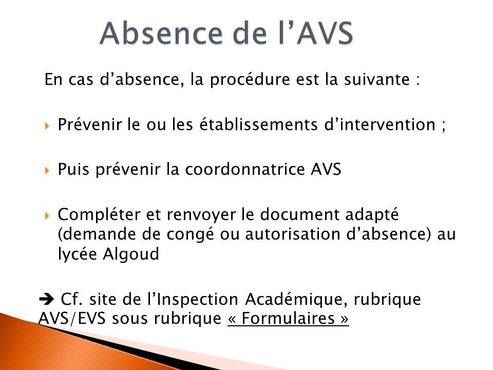 En cas dabsence, la procédure est la suivante : Prévenir le ou les établissements dintervention ; Puis prévenir la coordonnatrice AVS Compléter et ren
