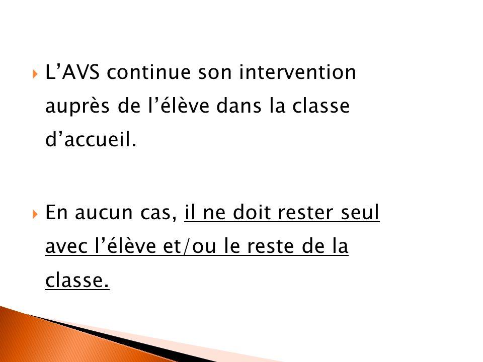 LAVS continue son intervention auprès de lélève dans la classe daccueil. En aucun cas, il ne doit rester seul avec lélève et/ou le reste de la classe.