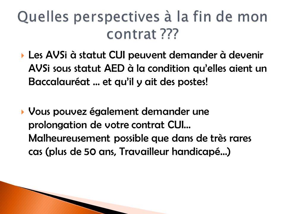 Les AVSi à statut CUI peuvent demander à devenir AVSi sous statut AED à la condition quelles aient un Baccalauréat … et quil y ait des postes! Vous po