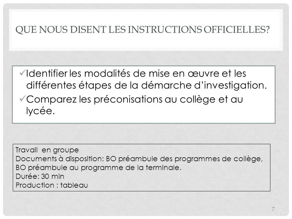 Identifier les modalités de mise en œuvre et les différentes étapes de la démarche dinvestigation. Comparez les préconisations au collège et au lycée.