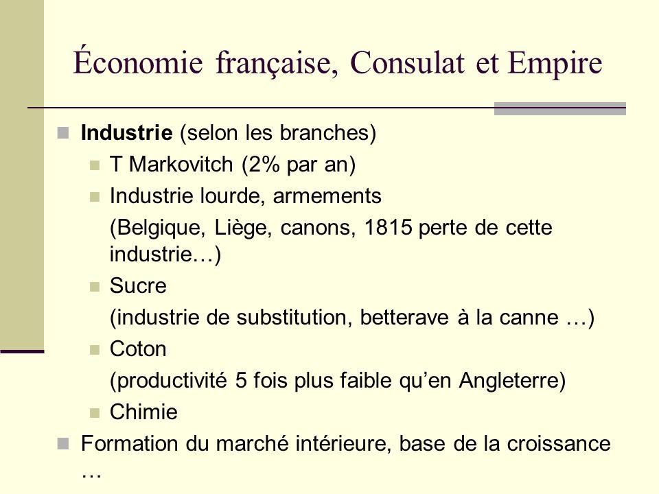 Économie française, Consulat et Empire Industrie (selon les branches) T Markovitch (2% par an) Industrie lourde, armements (Belgique, Liège, canons, 1