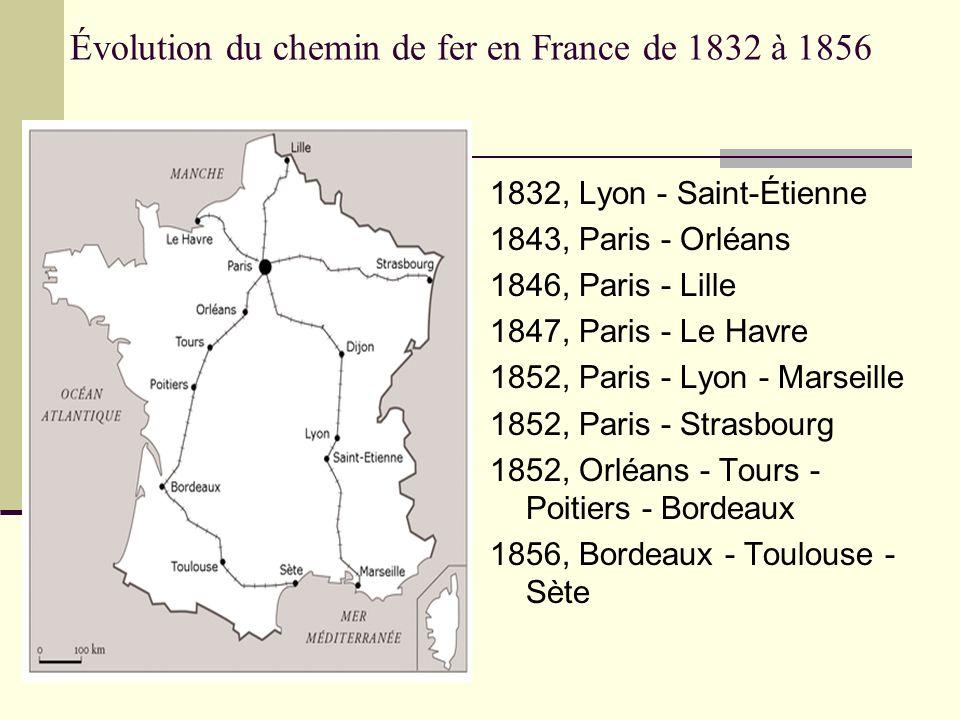 Évolution du chemin de fer en France de 1832 à 1856 1832, Lyon - Saint-Étienne 1843, Paris - Orléans 1846, Paris - Lille 1847, Paris - Le Havre 1852,